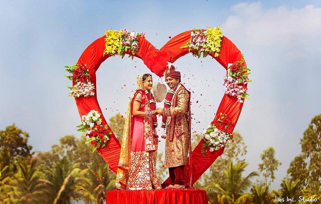 heart shape all wedding jaimala theme stage