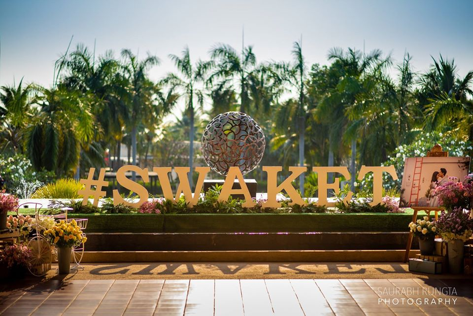 Couple Hashtag Sign #SWAKET at the Entrance of Swati & Saket's Indian Destination Wedding in Thailand