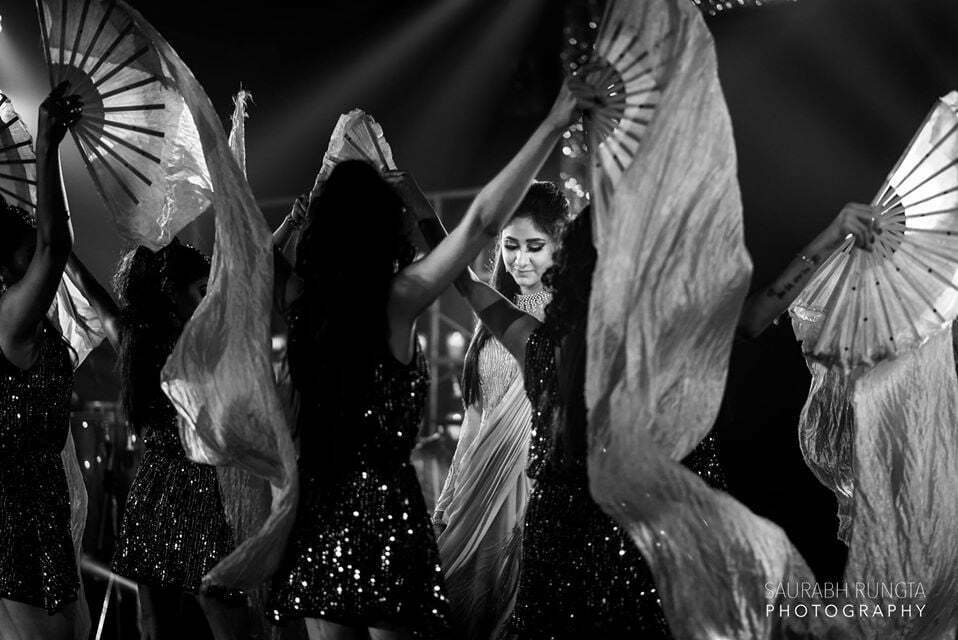 Bride Sangeet Performance Black & White Picture in her Indian Destination Wedding in Thailand