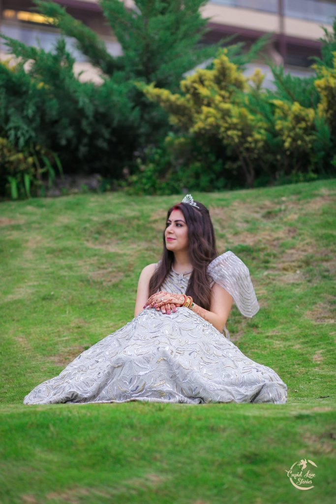 Aparna's Solo Portrait in JW Marriott Mussoorie Lawn in a Silver Indo Western Outfit and a Hair Crown