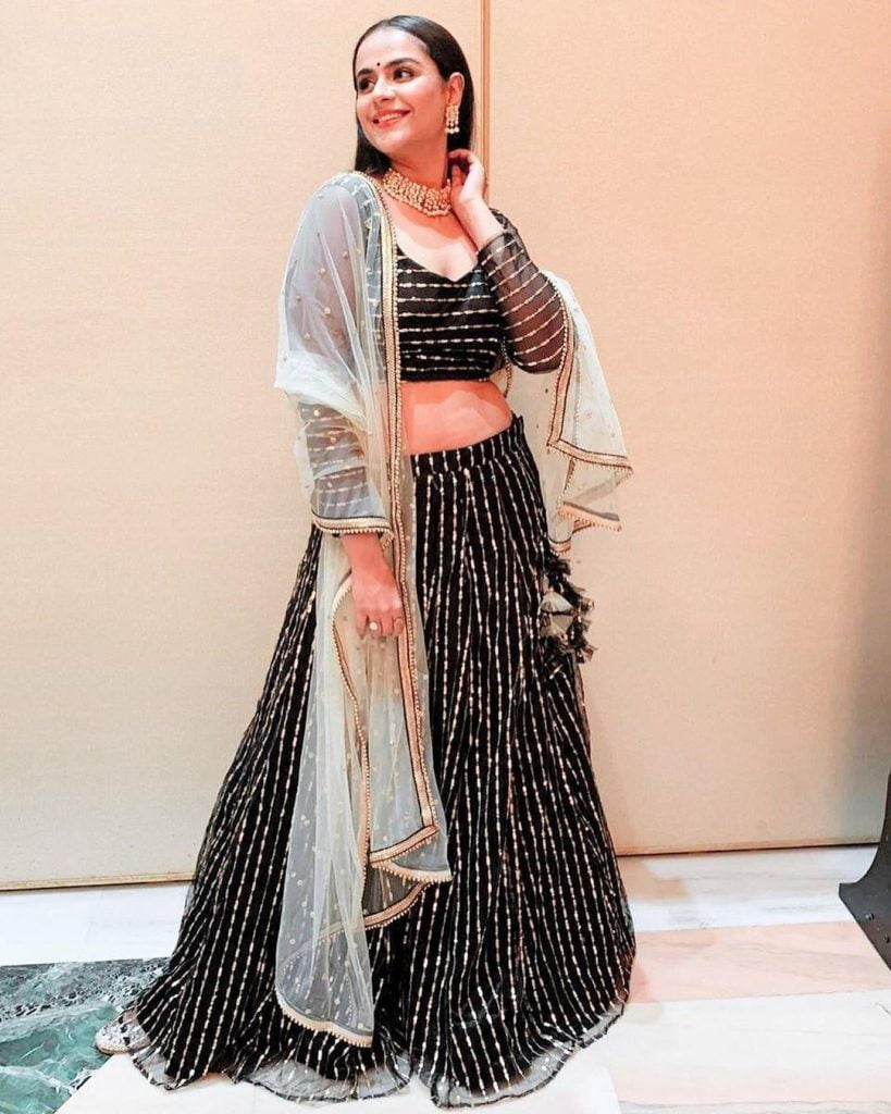 Black and gold lehenga design