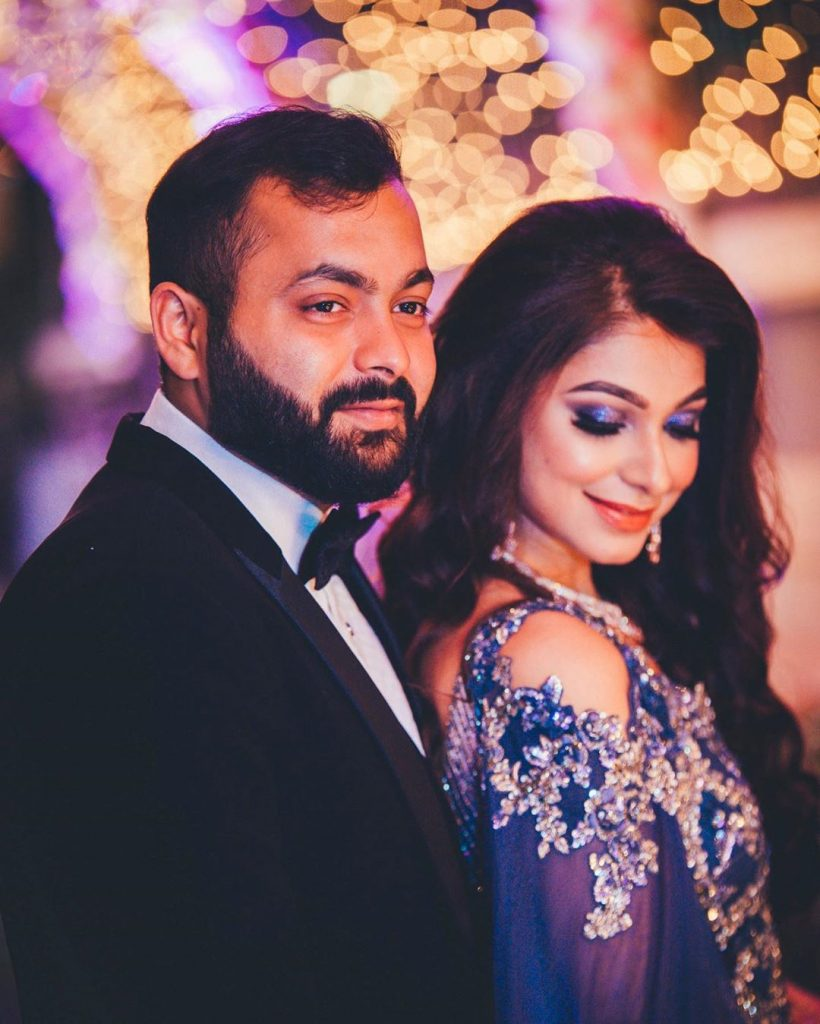 shimmery blue eye makeup for couple photography portrait clicked by AbhiSakshi Photography