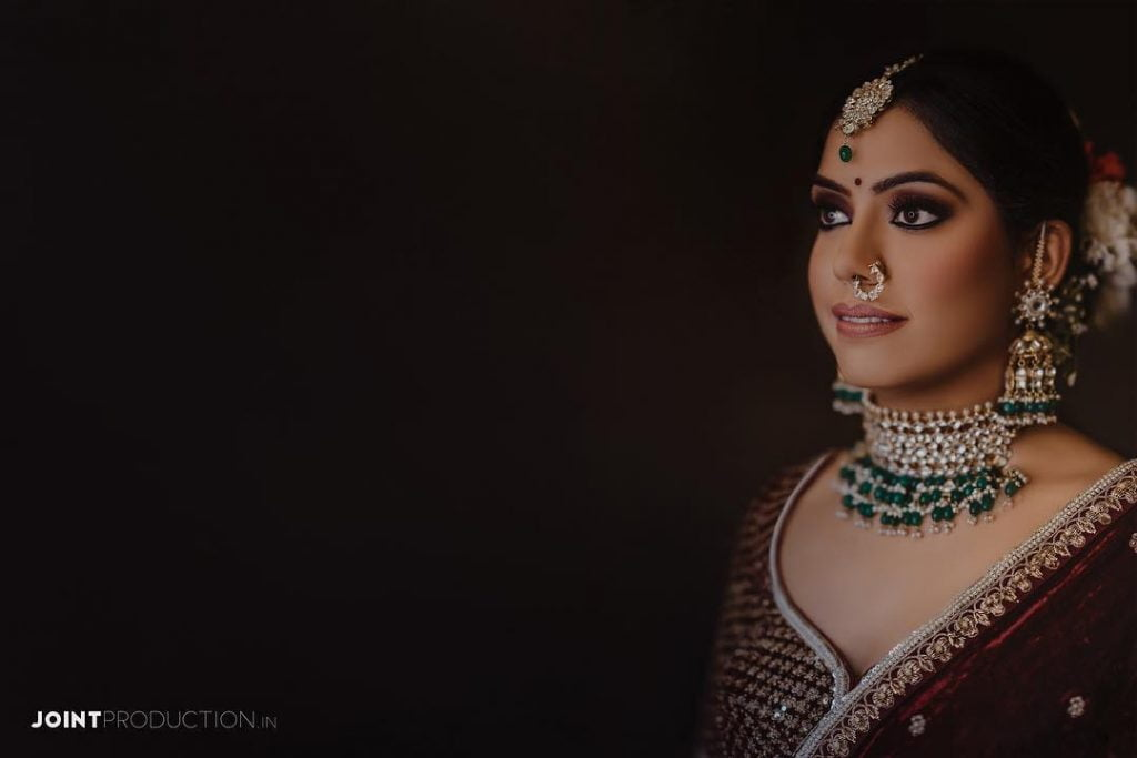 2020 Bridal Bold black kohl'ed and maroon smokey cat eye clicked by Joint Productions