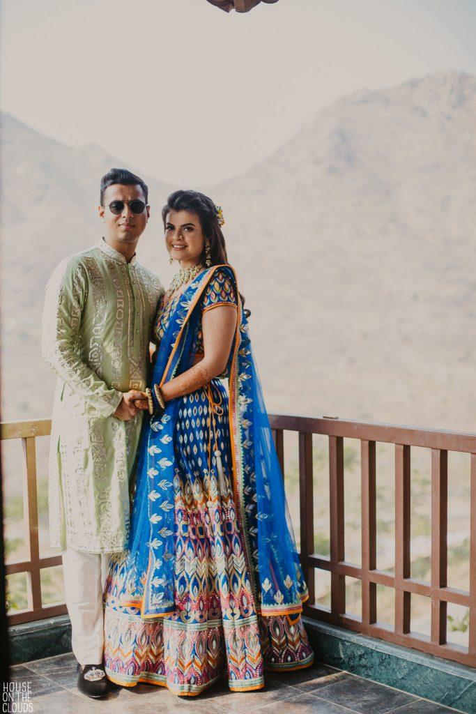 Palak & Pankaj couple portrait in bridal designer clothing by 'ASAL' by Abu Jani Sandeep Khosla