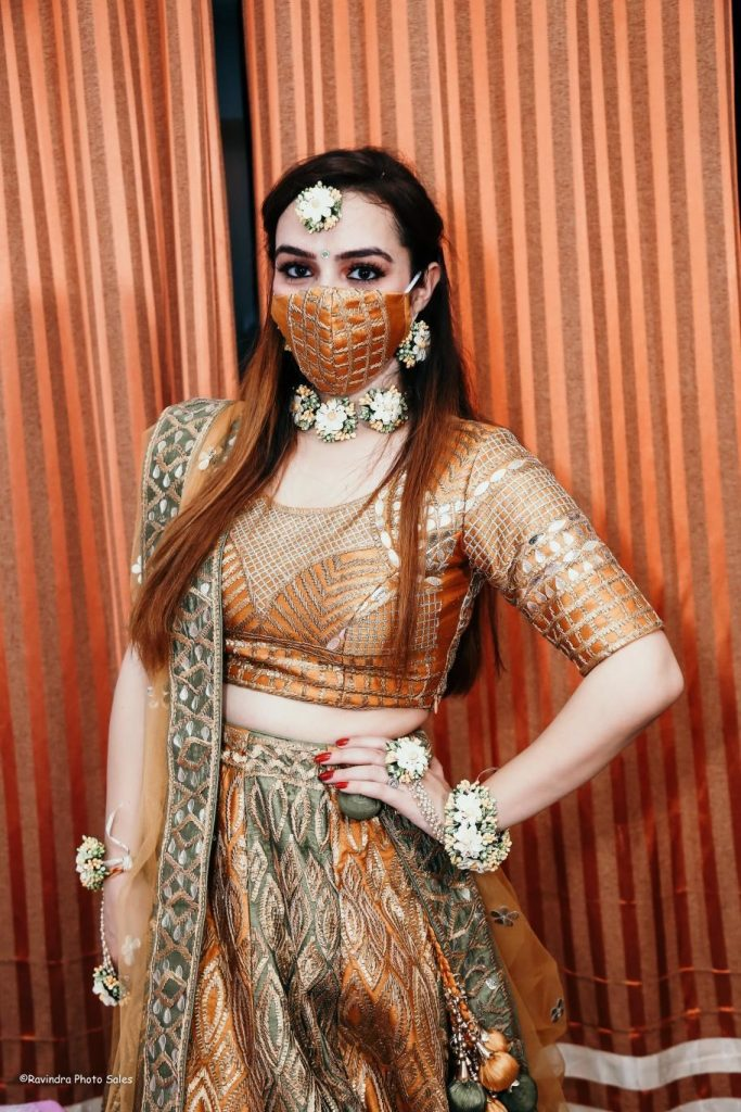 Copper mask with geometric net mesh design and copper brown lehenga