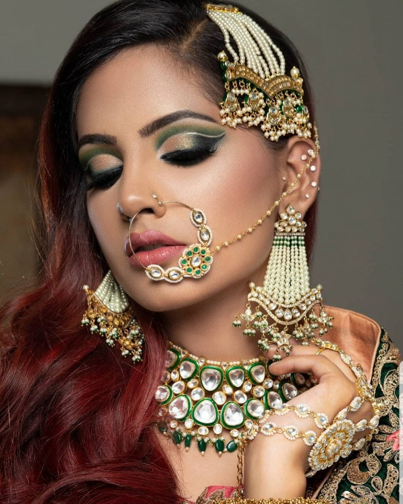 Cut crease emerald green eye makeup by Get Gorgeous with Ridhii