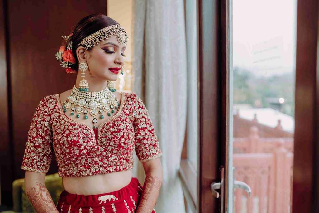 Choli-cut embroidered bridal lehenga design.