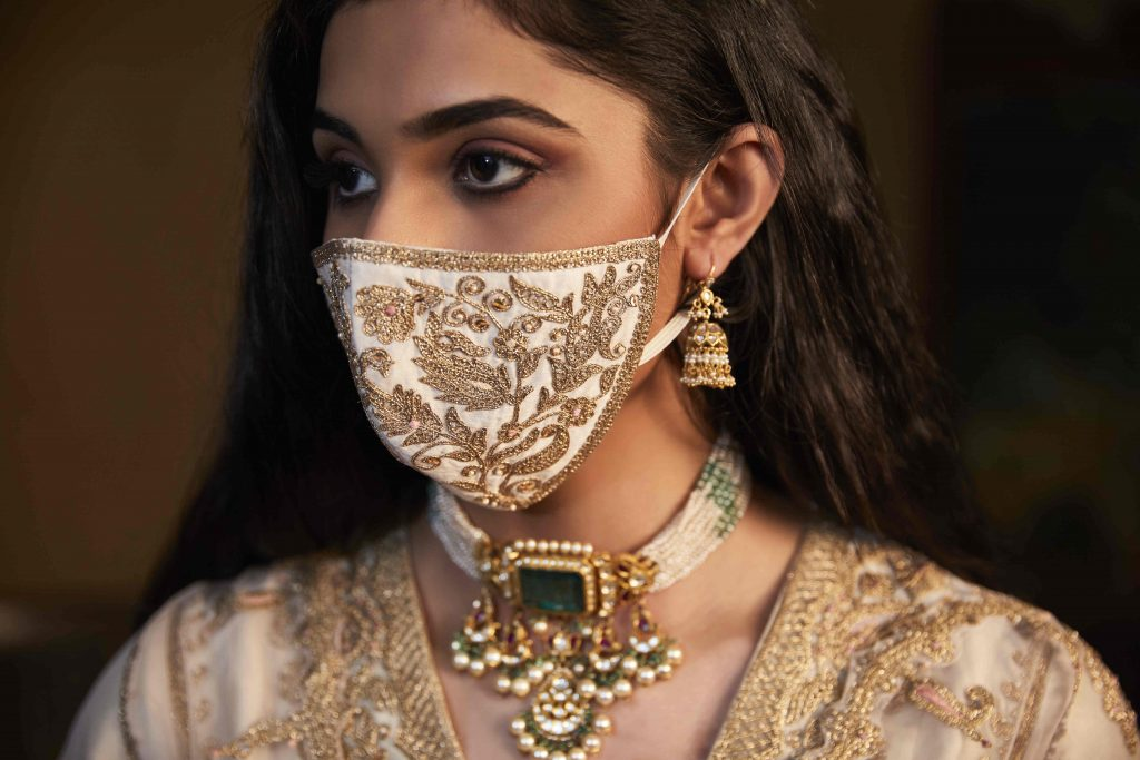 Stunning Mask With Intricate Golden Embroidery For Indian Bride