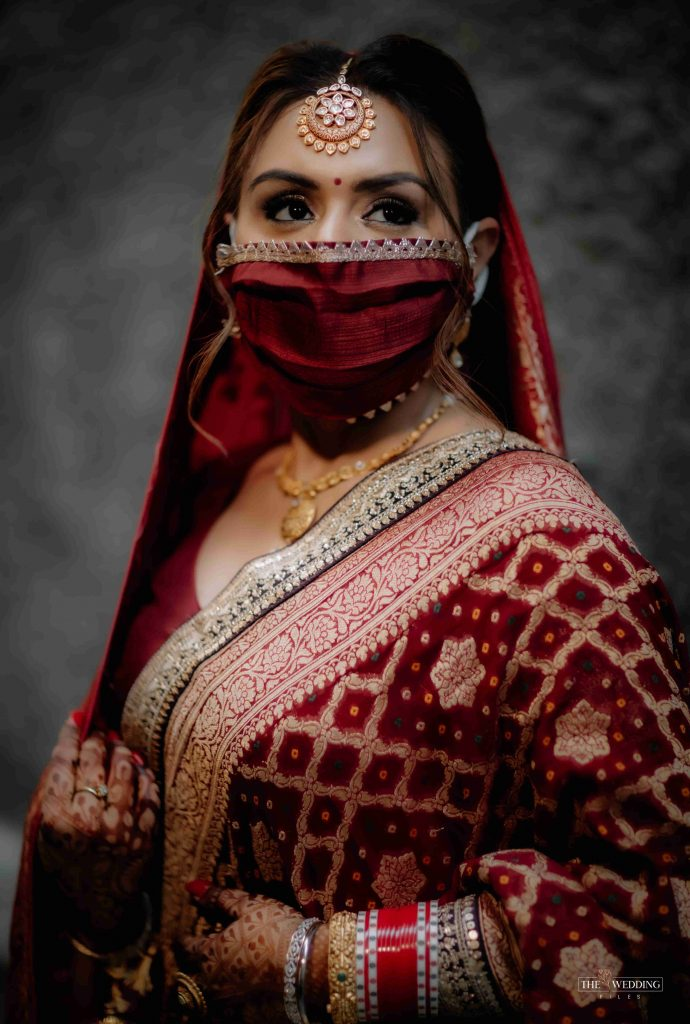 silk red bridal face masks with gota patti border