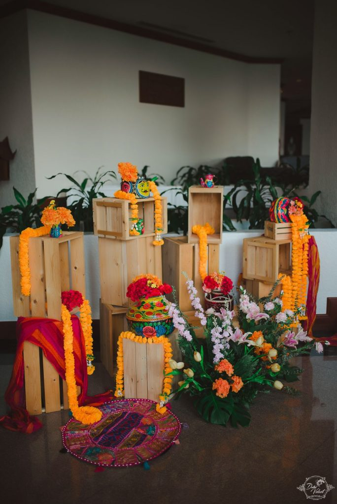 Simple Marigold Floral Entrance Decor at Nikita & Puneet's Haldi Ceremony