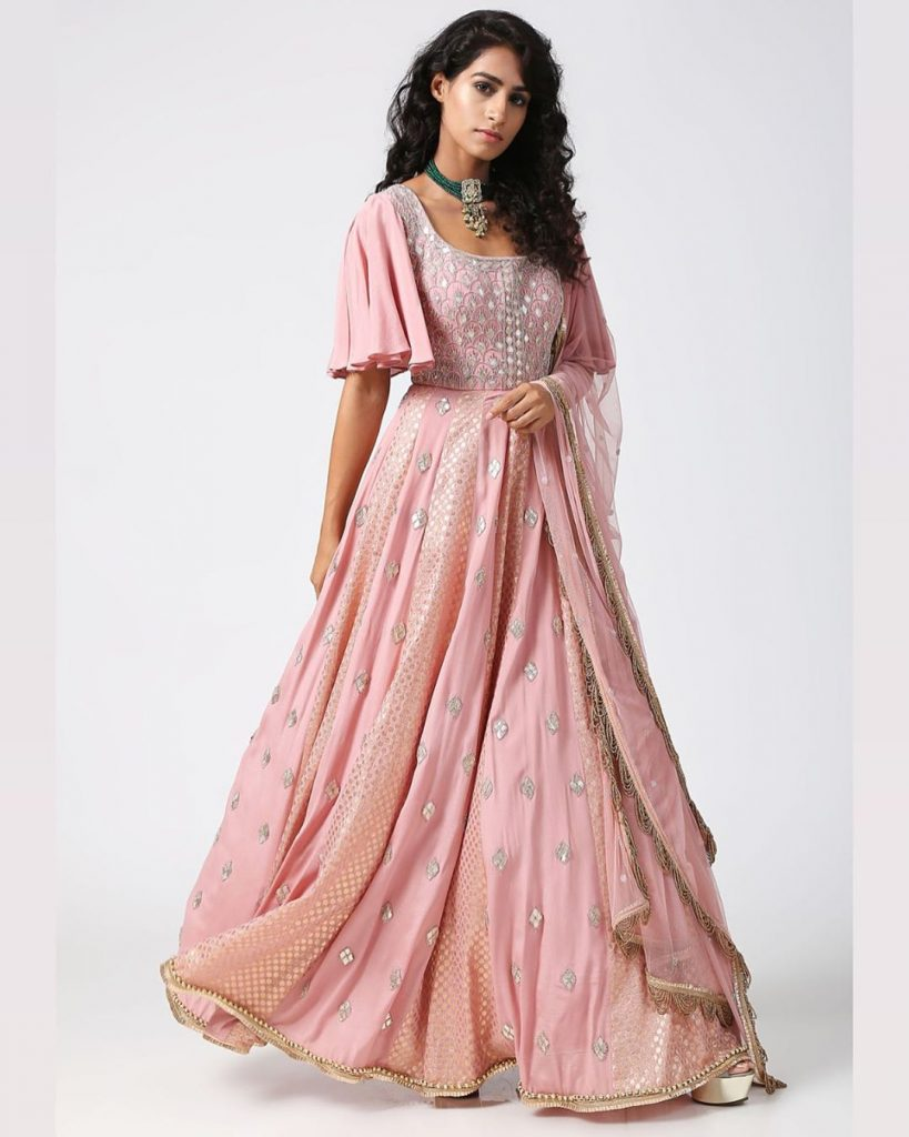 Pastel pink lehenga blouse with flared sleeves