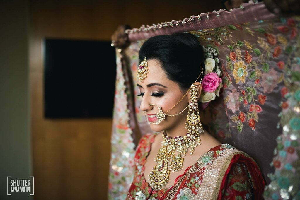 nude pink traditional bridal eye makeup