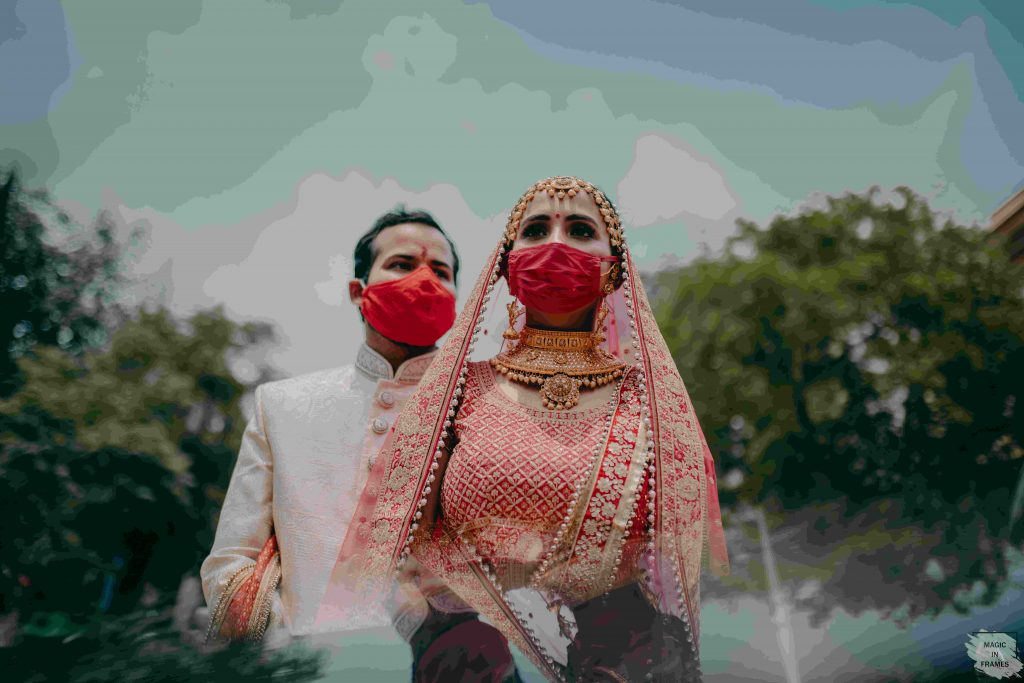 couple coordinating red plain and solid bridal face masks