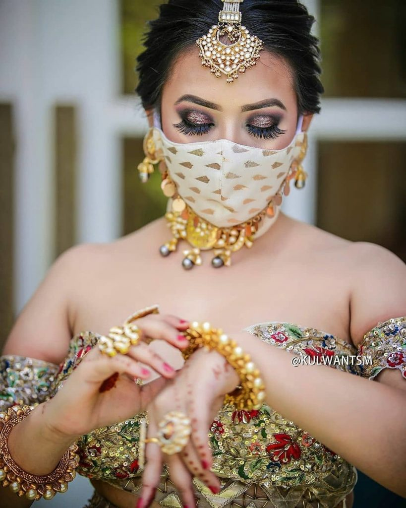 White zardozi geometric print simple face mask for bride