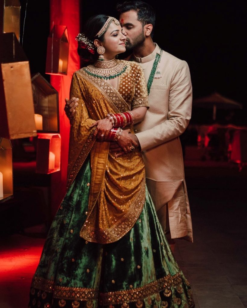 Mrighna & Shallabh's Romantic Couple Portrait Picture at their beach wedding in Dubai