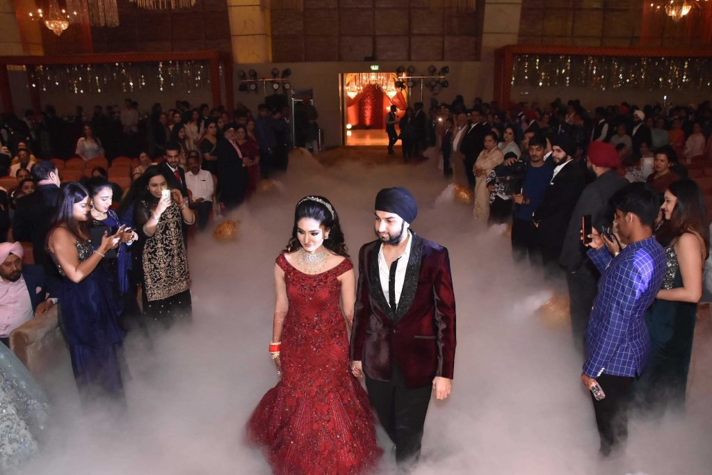 Bhavika and Angad in their royal evening reception.
