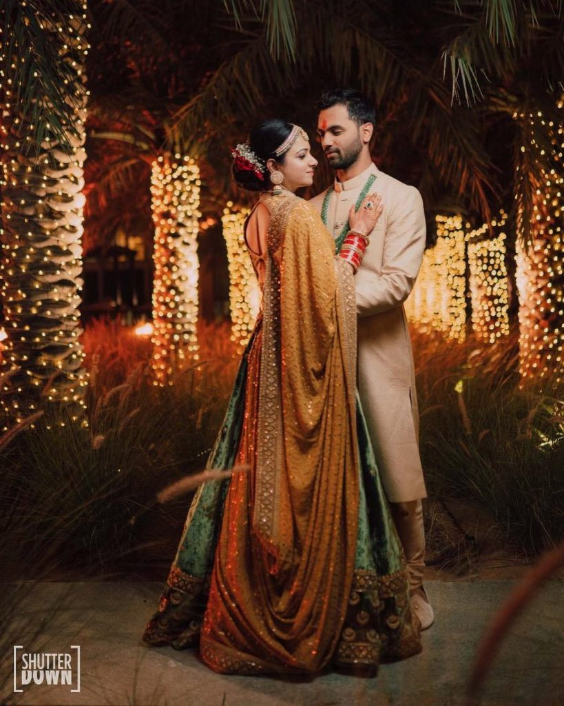 Mrighna & Shallabh's Post Wedding Portrait in Sabyasachi attire for their Beach Wedding in Dubai