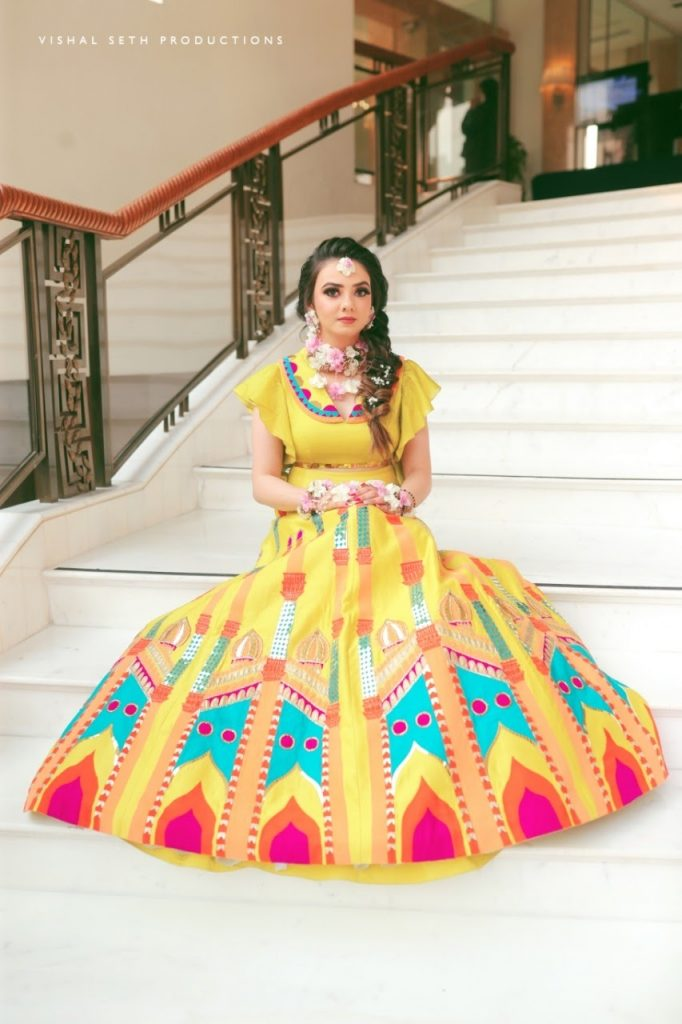 Yellow lehenga choli for haldi