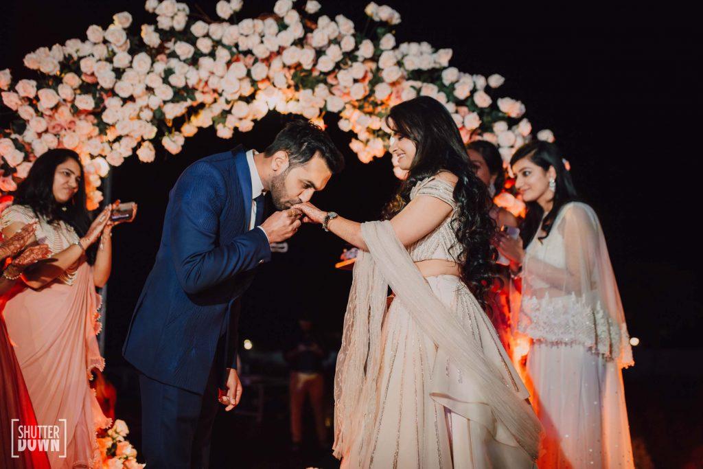 Cute Portrait Mrighna Shallabh post ring ceremony for beach wedding in dubai