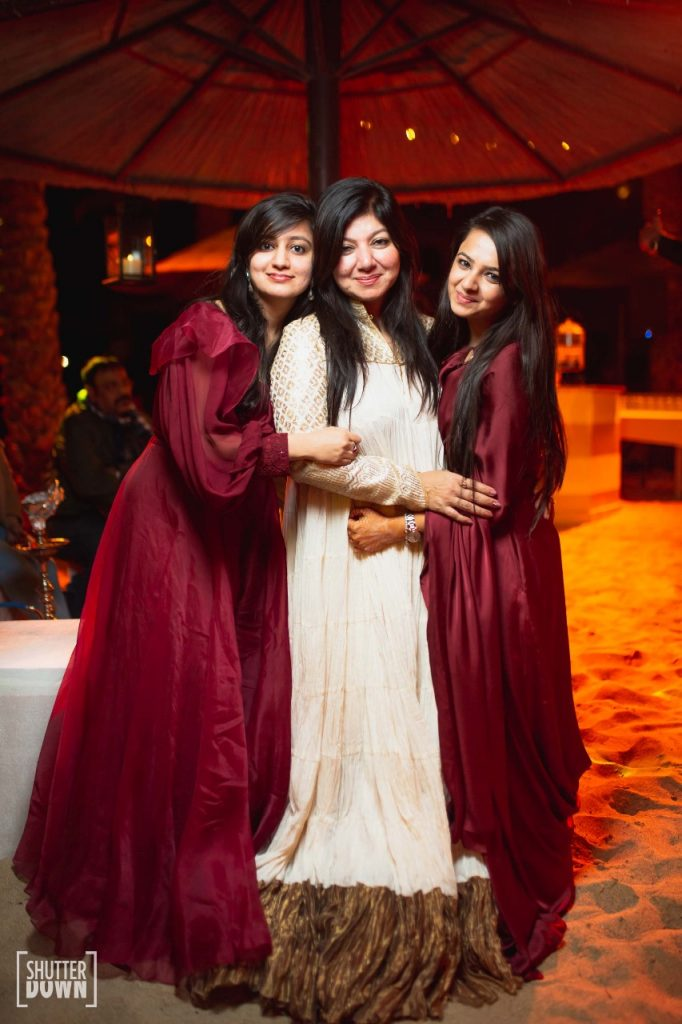 Bride and her bridesmaid portrait for beach welcome dinner to dubai