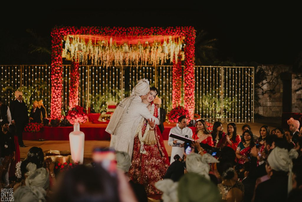bride and groom candid indian wedding photography