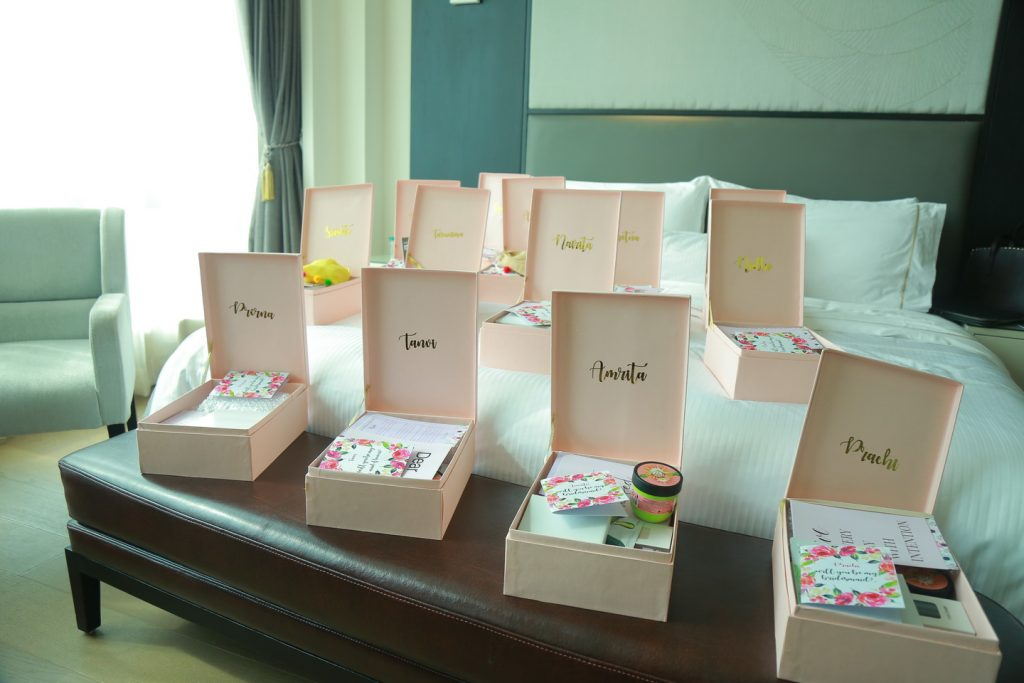 personalised filled bridesmaid gift boxes