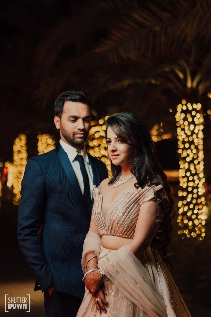 Mrighna Shallaabh engagement photos in outfits by Gaurav Gupta for beach wedding