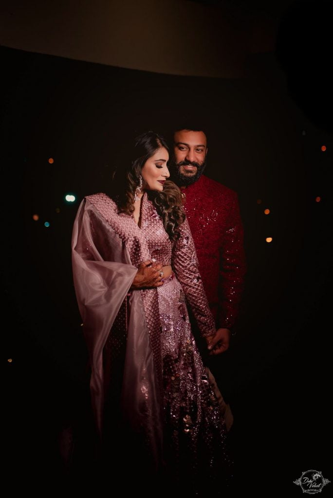 Nikita & Puneet sangeet pink red attire for beach wedding in pattaya