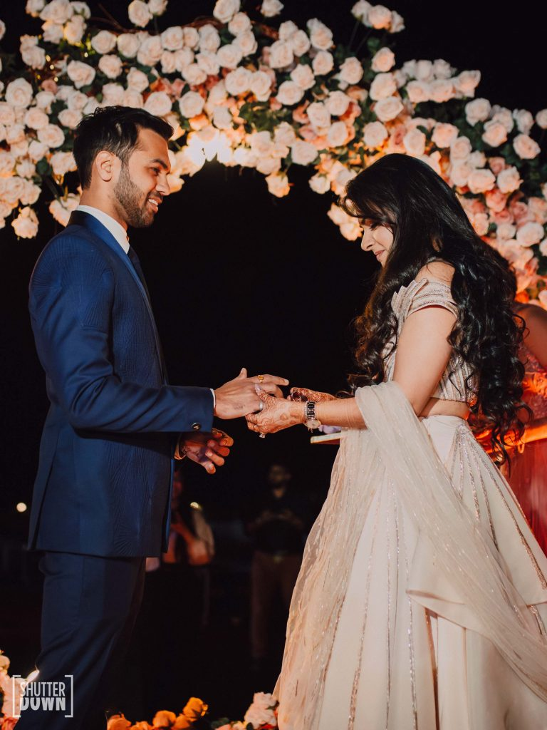 Mrighna Shallaabh's ring ceremony pictures clicked for their beach wedding in Dubai