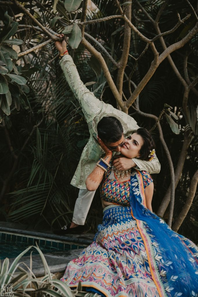 Cute Couple Candid Photography for mehendi ceremony