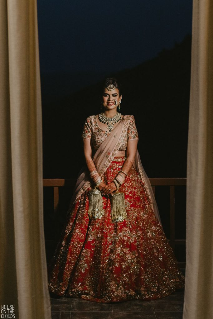 Palak in Pink and Red Designer bridal lehenga delhi by Shyamal and Bhumika