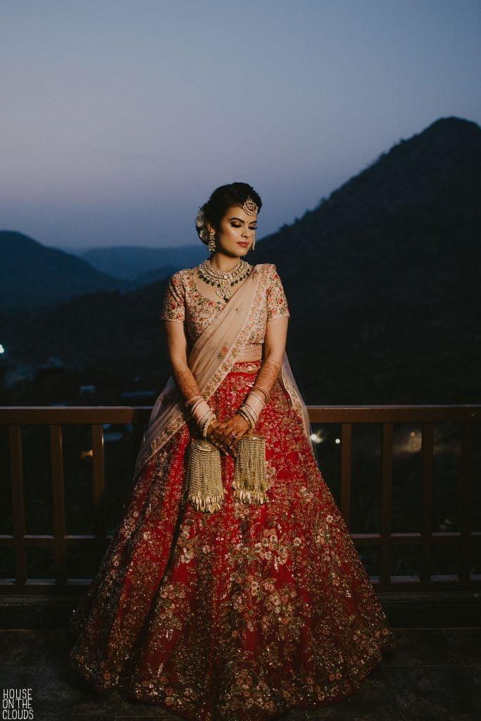 Palak Bridal Photoshoot in Pink Red Designer bridal lehenga with heavy golden kaleeras