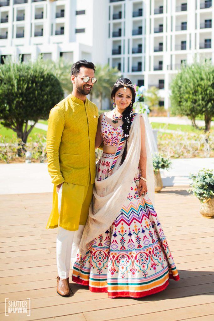 Mrighna Shallabh mehendi shot for their beach wedding in dubai