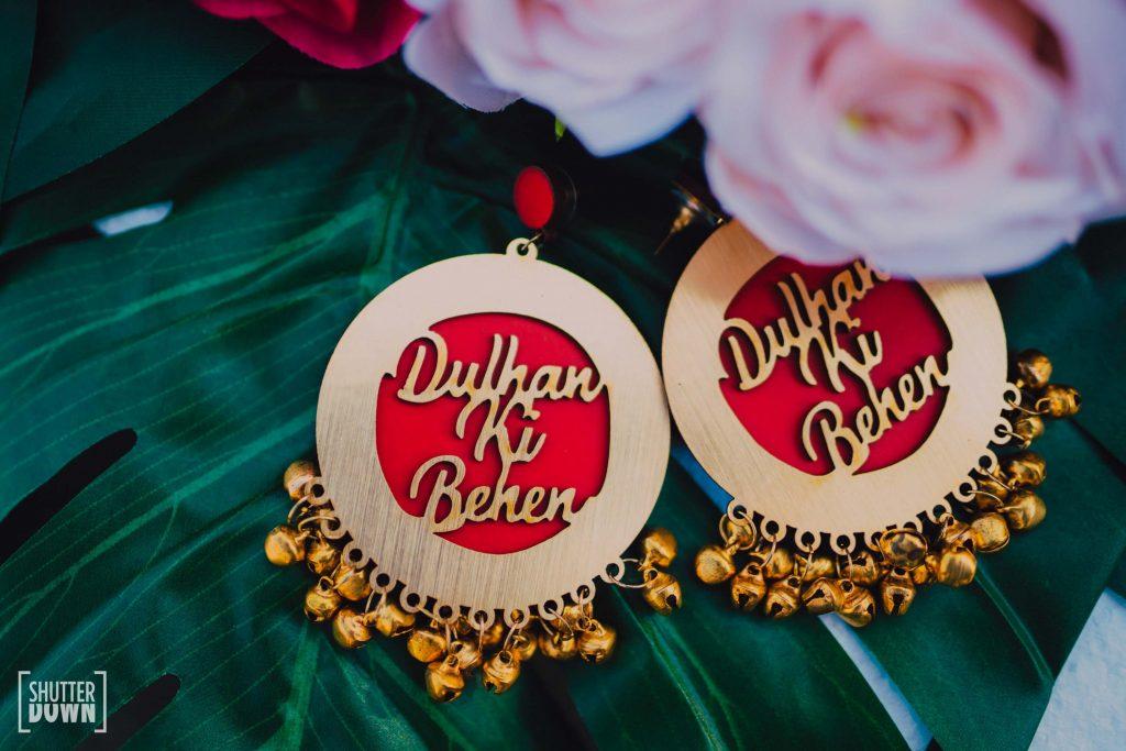 wooden customised dulhan ki behan earrings