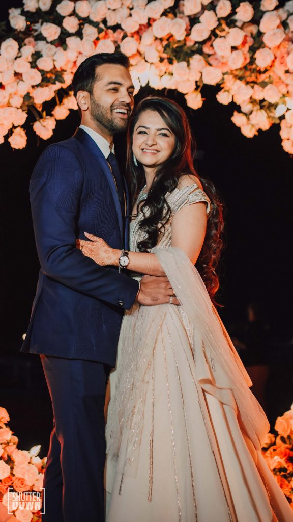Mrighna & Shallaabh in engagement ceremony couple outfits by Gaurav Gupta in Intercontinental Fujairah Resort for their beach wedding in Dubai