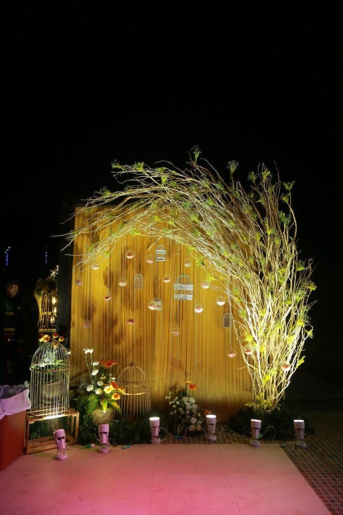 golden drapes, lighting and plants for a simple engagement stage