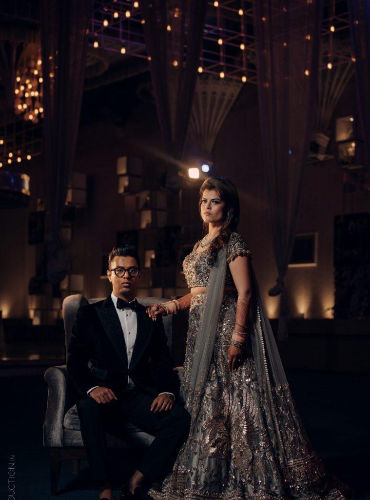 Palak & Pankaj Couple Photography in designer wear for reception