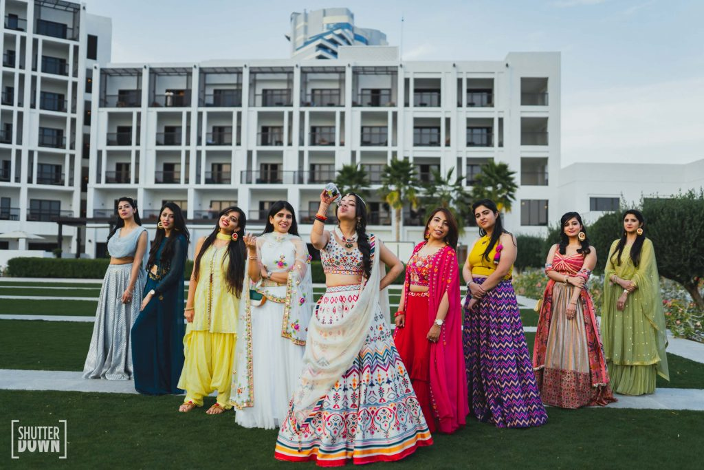 fun bridal photoshoot with bridesmaid for mehendi ceremony by Shutterdown Photography
