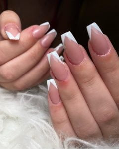 nude pink coffin nails with modern french manicure