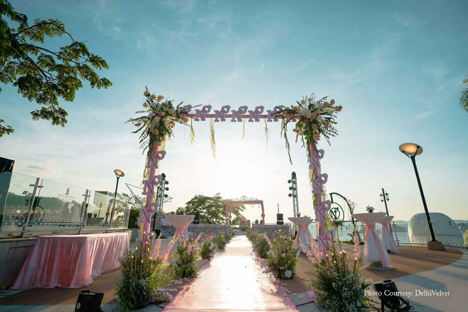 Pink and White Aisle Decor for Beach side Mandap