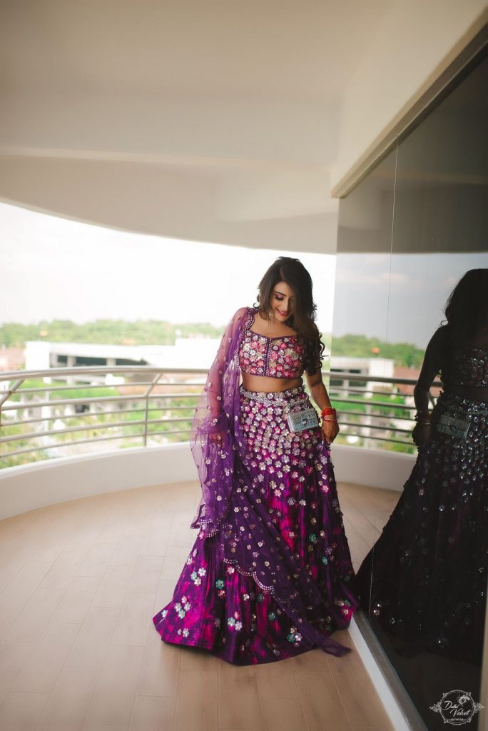 purple designer lehenga with silver flower and sheer dupatta in pattaya