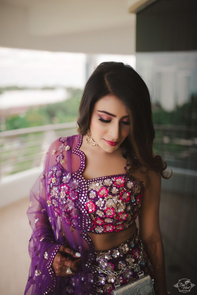 floral purple embellished blouse and lehenga for beach wedding in pattaya