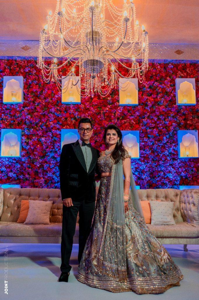 Palak Pankaj reception photoshoot in manish malhotra designer silver lehenga