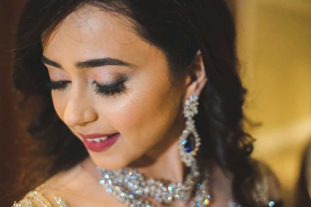Nude Shimmery eye makeup look for engagement and roka