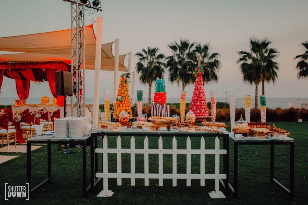 beach wedding food bar and decoration by Ferns and Petals Weddings