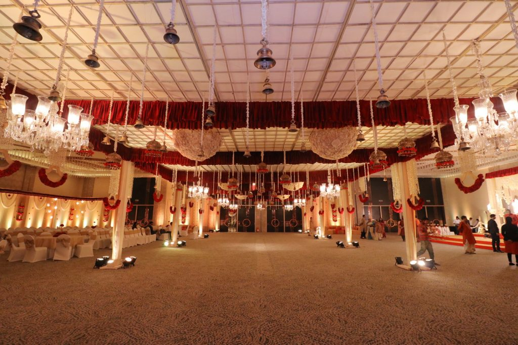 wedding venue with decorations in westin hotel rajarhat