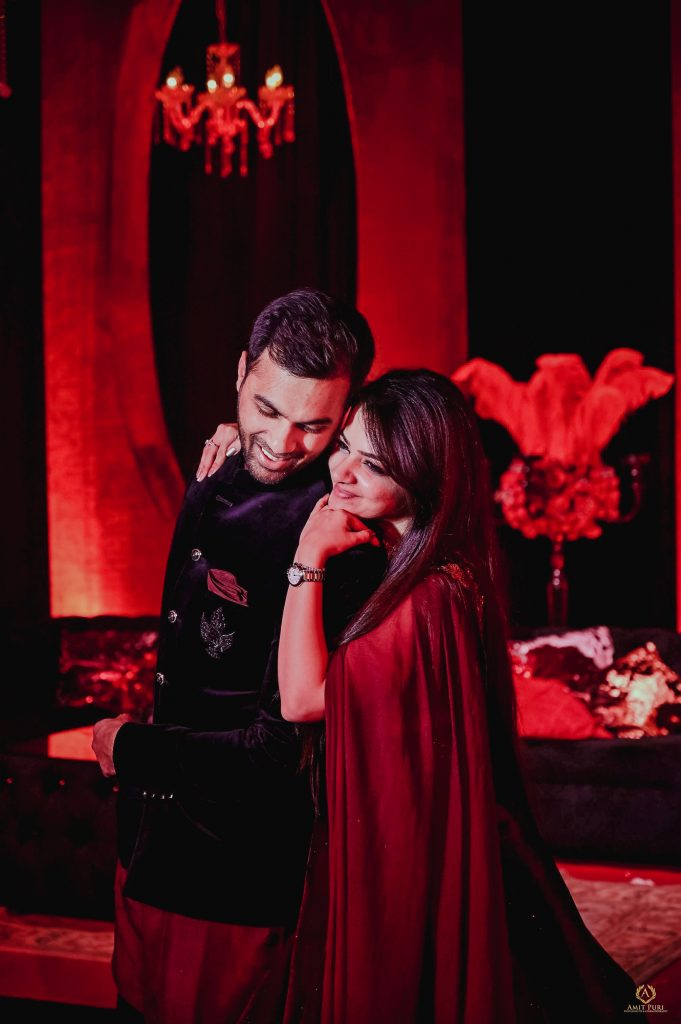Mrighna Shallaabh red themed pre wedding reception photoshoot