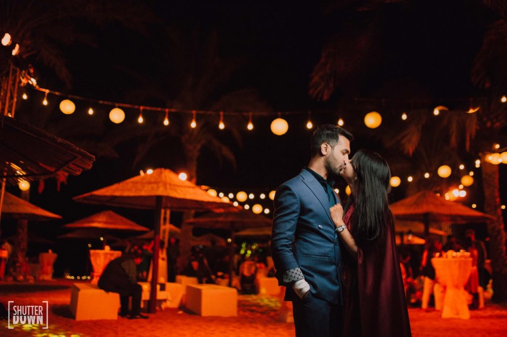 adorable shot of Mrighna & Shallabh for beach wedding captured by Shutterdown Photography