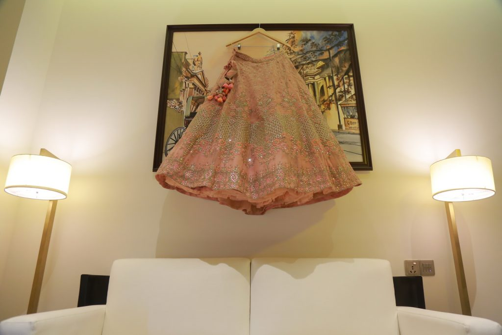indian bride designer pink lehenga with silver embroidery