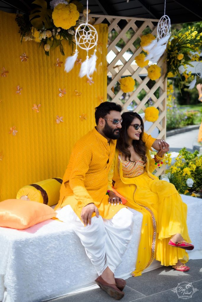 yellow themed haldi ceremony couple outfits for beach wedding in pattaya